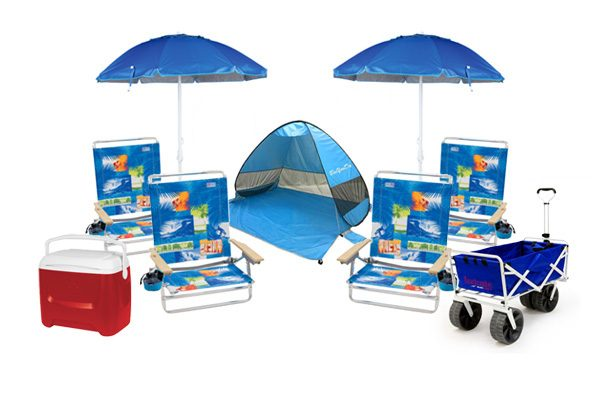 Beach package with chairs, umbrellas, cooler and wagon