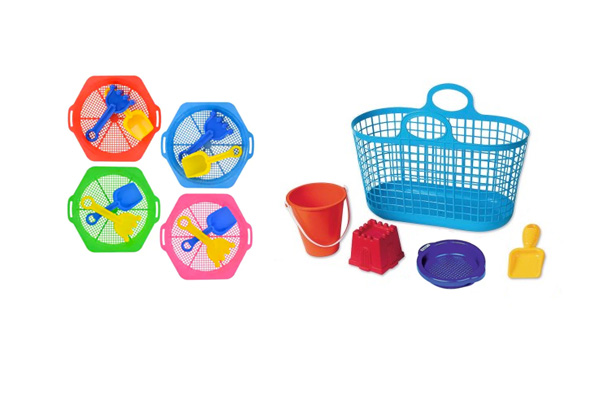 Sands toys in a tote - for making sand castles and playing at the beach