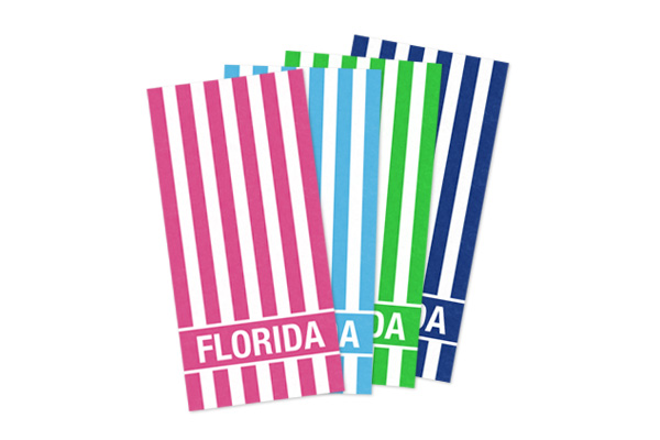 Striped towels that say Florida