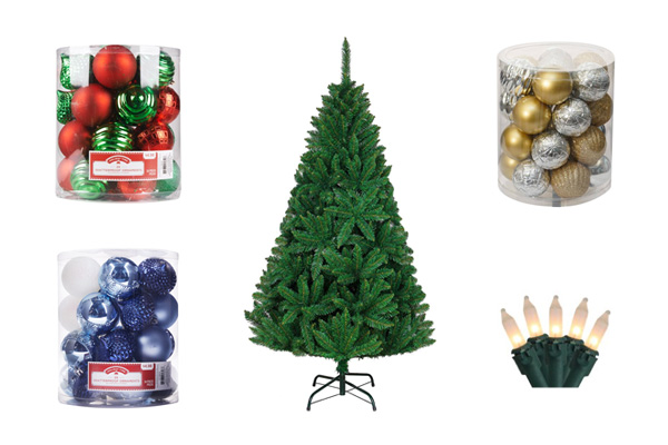 Christmas tree package - Tree, lights, and balls
