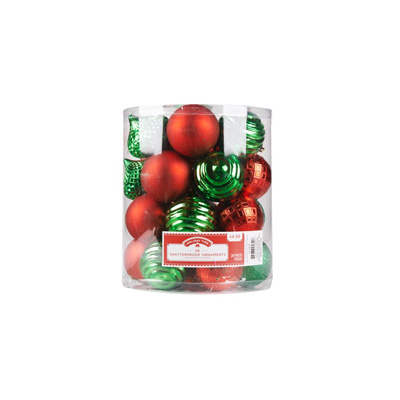 Red and green Christmas tree balls