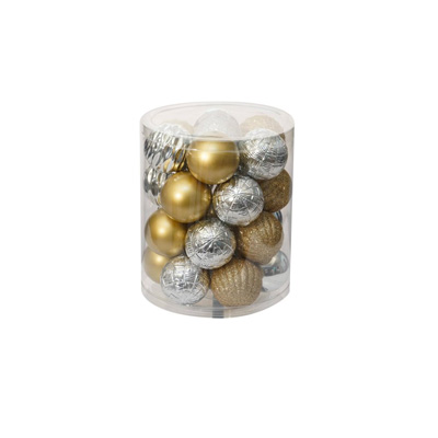 Gold and silver Christmas tree balls